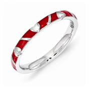 Best Designer Jewellery Sterling Silver Stackable Expressions Red Enamel Heart Ring