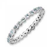 Best Designer Jewellery Sterling Silver Stackable Expressions Aquamarine Ring