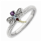 Best Designer Jewellery Sterling Silver & 14k Stackable Expressions Gemstone & Diamond Dragonfly Ri