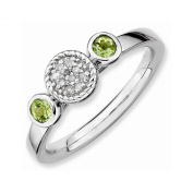 Best Designer Jewellery Sterling Silver Stackable Expressions Db Round Peridot & Dia. Ring