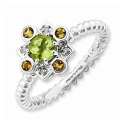 Best Designer Jewellery Sterling Silver Stackable Expressions Peridot, Citrine & Diamond Stackabl