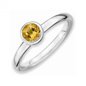 Best Designer Jewellery Sterling Silver Stackable Expressions Low 5mm Round Citrine Ring