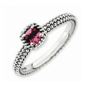 Best Designer Jewellery Sterling Silver Stackable Expressions Checker-cut P. Tourmaline Antiqued Ri