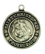 Saint Christopher with St Raphael 2.1cm Sterling Silver Pendant