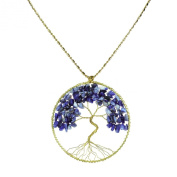Blue Lapis Stone Eternal Tree of Life Brass Long Necklace