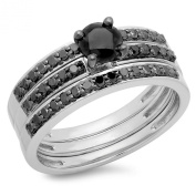 1.00 Carat (ctw) Sterling Silver Round Black Diamond Bridal Engagement Ring Two Wedding Bands Set 1 CT