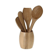 Indian Kitchen Utensil Set Cookware Wooden Spoons Spatula in Jar Holder