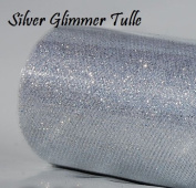 Wedding GLITTER Tulle Roll 15cm x 9.1m SILVER Sparkling Tulle