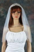 Bridal Veil Ivory 1 Tier Shoulder Length Standard Cut Edge Scattered Rhinestones
