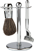 3 Piece Shaving Set With Textured Mach 3 All Metal Heavyweight Handle and 100% All Metal Textured Heavyweight Badger Brush, With All metal Chrome Classy Stand