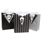 Dapper Guy Father's Birthday / Anniversary / Wedding Groomsmen Mens Tuxedo Gift Bags and Tissues - Assorted Set of 3