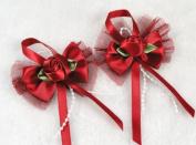 14 Pcs Satin Lace Streamers Rose the Wedding Decoration Appliques 7 Colour U Pick