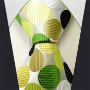 D and T Executive Wardrobe Accessory , Handmade 100% Silk Jacquard Woven White , Yellow , Green, and Black Colours Polka Dot 8.6cm Classic Silk Jacquard Men's Necktie Tie