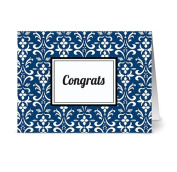 Modern Floral Damask 'Congrats' Navy - 24 Cards for $7.49 - Blank Cards w/ Grey Envelopes Included