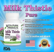 Milk Thistle Extract Pure - 450mg Capsules With 80% Silymarin for Liver Cleanse, Liver Detox, Liver Support and a Powerful Antioxidant - 60 Capsules - 100% Satisfaction Guarantee - Buy 3 Bottles or More Get. Plus, A. REPORT Wit ..