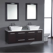 "160cm Espresso Wall Mounted Wood & Porcelain Double Sink Bathroom Vanity Set- ""Butler"""