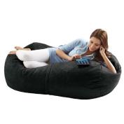 Jaxx Sofa Saxx 1.2m Bean Bag Lounger, Black Microsuede