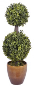 House of Silk Flowers 0.6m Artificial Double Ball Topiary in Brown Ceramic Pot
