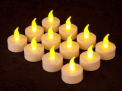 DragonPad12 Battery Operated LED Tealight Candles Flameless Heatless Faux Wedding Holiday Christmas Thanksgiving Party Light Dozen
