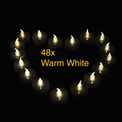 Weanas® 48pcs LED Tealight Candles Light Warm White with Timer Timing Replaceable Coin Battery Unscented Flickering Flameless Four Dozen Lot 48 for Emergency Christmas Birthday Wedding Party