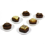 "6-pack Assorted Candy Shaped Chocolate Scented Candles on Porcelain Plates Candle Gift Set (7.6cm x 7.6cm x 1.13cm ea) and a ""Chocolate Ice Cream"" Themed Sticker Sheet - They Smell so Real!"