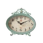 15cm by 15cm Pewter Table Clock, Aqua