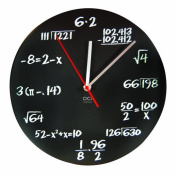 DCI Matte Black Powder Coated Metal Mathematics Blackboard Pop Quiz Clock, 28cm - 1.3cm Diameter