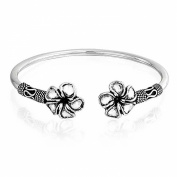 Bling Jewellery Plumeria Flower Bali Rope Style Oxidised Cuff Bracelet Sterling