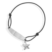 Engraveable ID Bracelet with Starfish Charm Sterling Silver Adjustable
