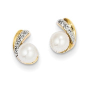 14k Yellow Gold Diamond and Freshwater Cultured Pearl Post Earrings