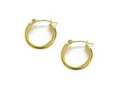 14k Real Yellow Gold Baby Hoops Hoop Earrings Tubular 2x12mm