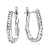 10K White Gold Flip Back Diamond Hoop Earrings