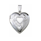 14k White Gold Hand Engraved Heart Picture Locket 1.3cm X 1.3cm