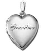 "Sterling Silver ""Grandma"" Sweetheart Locket 1.9cm X 1.9cm"
