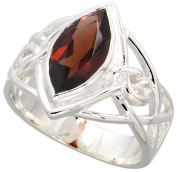 Sterling Silver Celtic Knot Ring with Natural Garnet 1.3cm wide, sizes 6 - 10