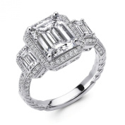 Three Stone Ladies Engagement Ring .925 Sterling Silver .925 Signity Diamonds