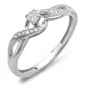 0.20 Carat (ctw) 10K Gold Round Diamond Crossover Swirl Ladies Bridal Promise Engagement Ring