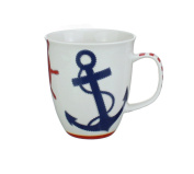 Coffee or Tea Ceramic Mug - Nautical Chic Featuring an Anchor and Ships Wheel - Dishwasher and Microwave Safe - 470ml Capacity