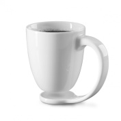 Floating Mug, White Coffee Cup and Coaster Perfect for Morning Latte