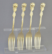 Rose Collection Rose Handled Demi Fork-gold plate -SET OF FOUR
