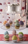 Three Tier Cupcake or Cake Stand with Scalloped Eges Made of Clear Hard Acrylic - Mix and Match Use As a 1 Tier, 2 Tier or 3 Tier - Centre Tubes Are Hollow and Can Be Filled If Desired - Holds Approx 40-45 Cupcakes