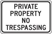 "Accuform Signs FRP903RA Engineer Grade Reflective Aluminium Designated Parking Sign, Legend ""PRIVATE PROPERTY NO TRESPASSING"", 46cm Width x 30cm Length x 0.2cm Thickness, Black on White"