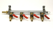 4-way CO2 Gas Manifold with Safety and Cheque Valves