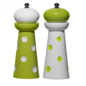 Supreme Housewares Acrylic Salt and Pepper Mill, Green Dots, Set of 2