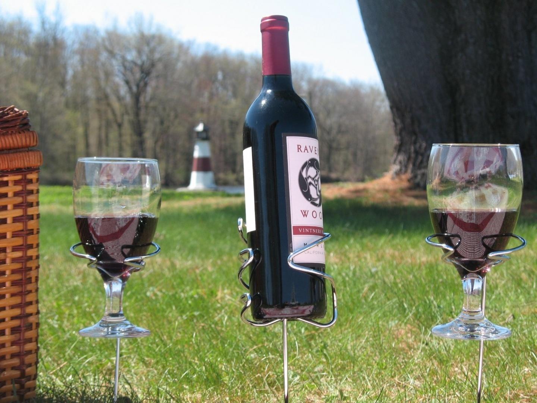 1d8768529c0 Wine Bottle Holder - Wine Glass Holders - Backyard Outdoor Picnic or ...