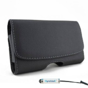 Premium Horizontal Leather Case Pouch Holster for Apple iPhone 6 (12cm ) - with Magnetic Closure with Belt Clip and Belt Loops (MH078) (Plus Size will fit Phone with a Slim Cover or Skin on ) + MYNETDEALS Mini Touch Screen Stylus