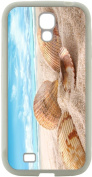 Rikki KnightTM Seashells in Sand on Beach Design Samsung® Galaxy S4 Case Cover (White Hard Rubber TPU with Bumper Protection) for Samsung Galaxy S4 i9500