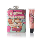 Bev Ridge, Fun Retro Hip flask and LIP GLOSS - Gift Set, Light Peach Shimmer