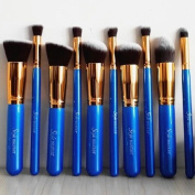 10 Pcs HQ Pro Premium Synthetic Kabuki Makeup Brush Set Cosmetics Foundation Blending Blush Eyeliner Face Powder Brush Makeup Brush Kit With Free Case--Blue Golden