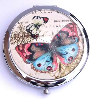 Pink and Blue Butterfly Round Compact Mirror